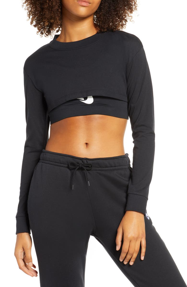NIKE Sportswear Organic Cotton Crop Top, Main, color, BLACK/ WHITE