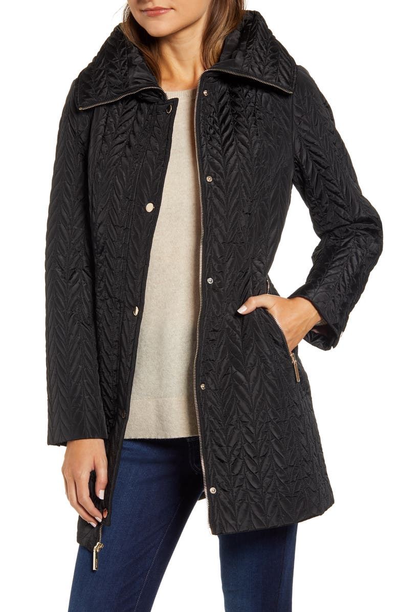 KATE SPADE NEW YORK herringbone quilted parka, Main, color, BLACK
