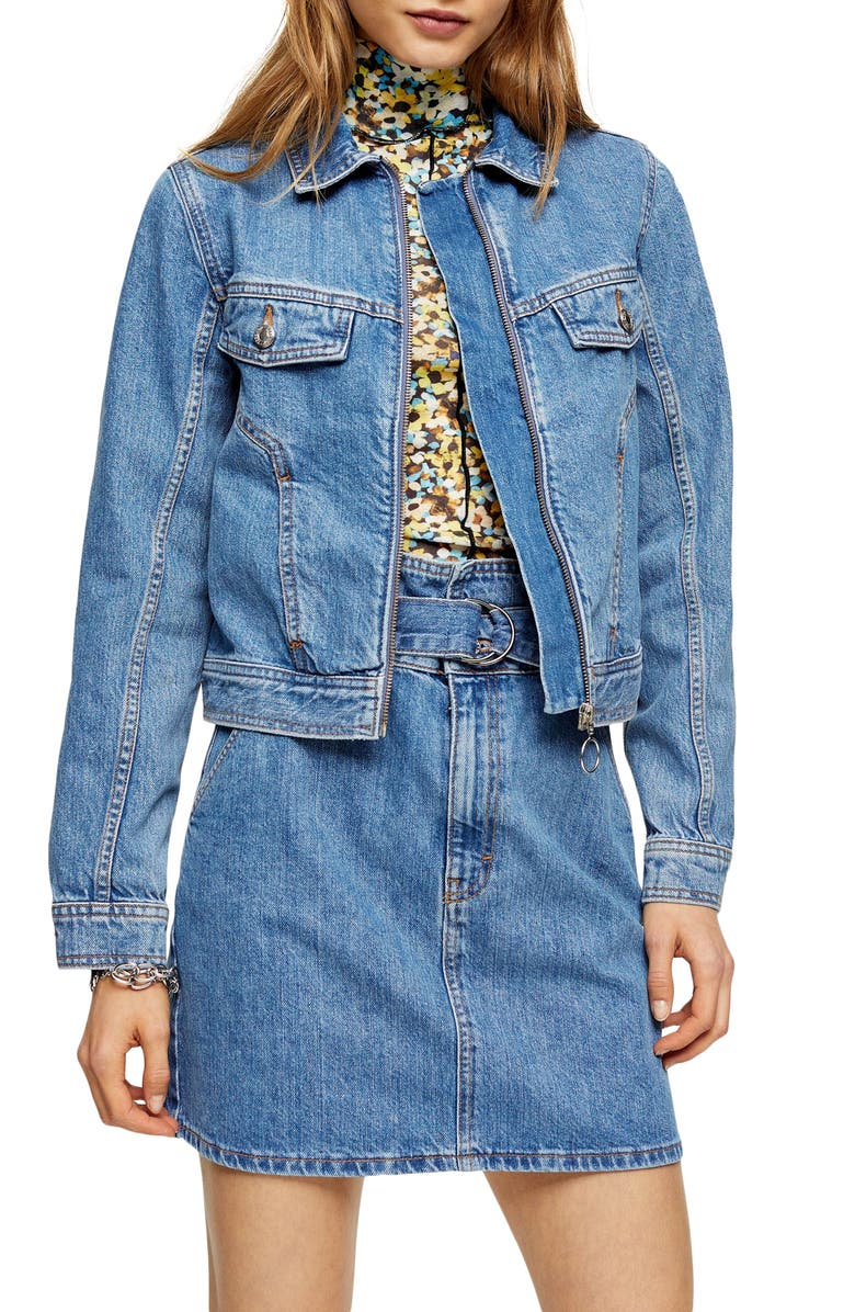 TOPSHOP Tilda Zip Denim Jacket, Main, color, MID DENIM