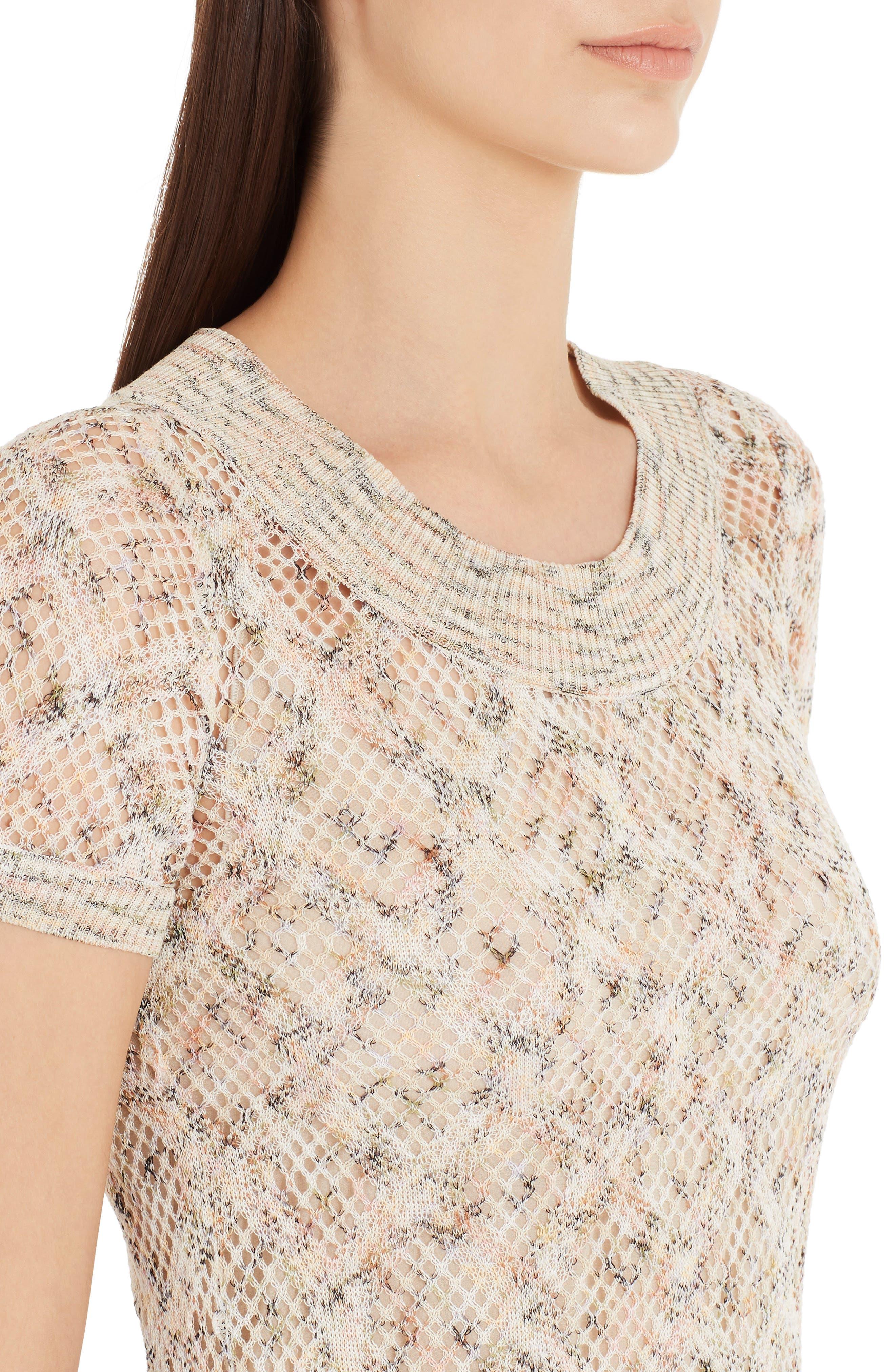 ,                             Cotton Pointelle Sweater Dress,                             Alternate thumbnail 4, color,                             BEIGE