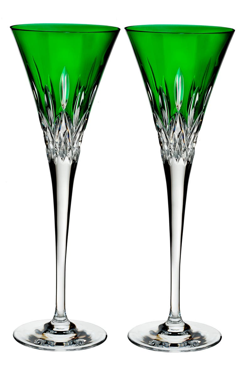WATERFORD Lismore Pops Set of 2 Emerald Lead Crystal Champagne Flutes, Main, color, CRYSTAL
