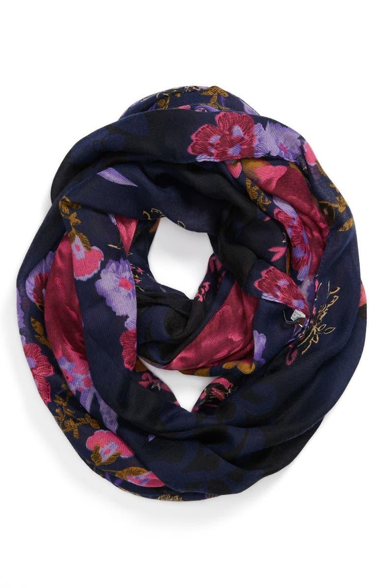 TASHA 'Ring of Flowers' Infinity Scarf, Main, color, NAVY
