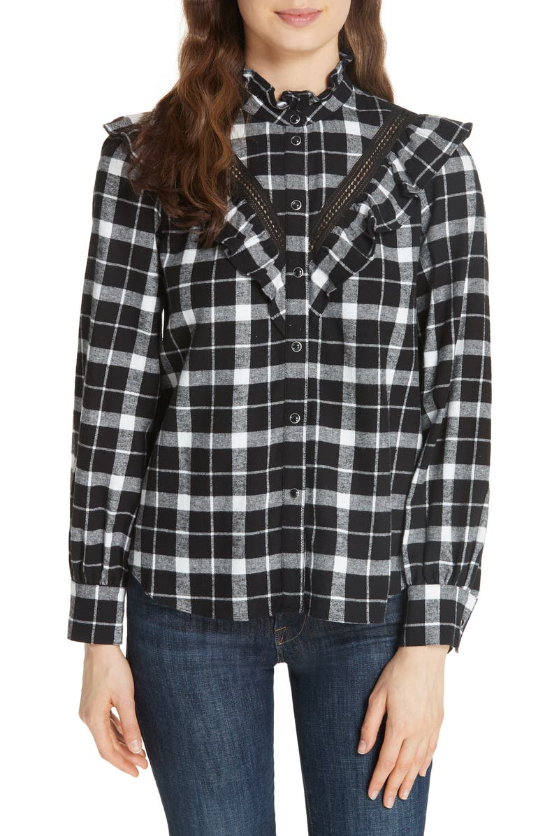 KATE SPADE NEW YORK rustic plaid flannel shirt, Main, color, BLACK