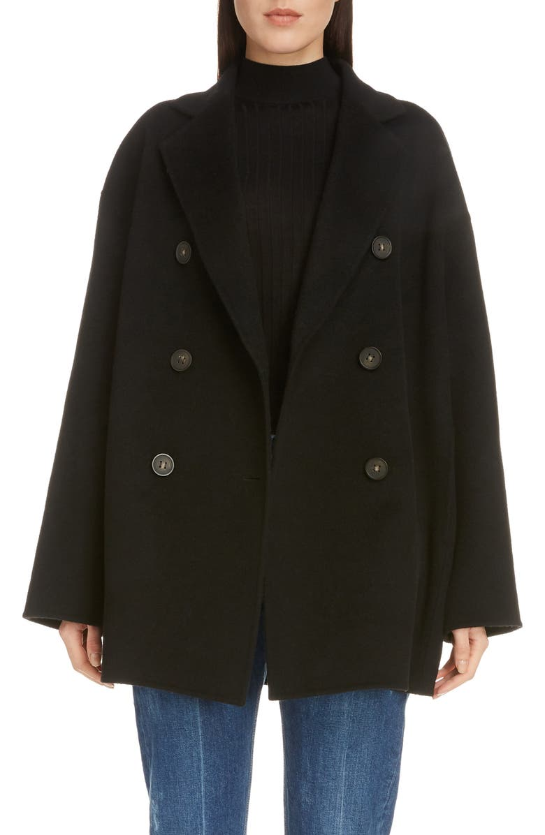 ACNE STUDIOS Odine Double Breasted Wool & Cashmere Coat, Main, color, BLACK