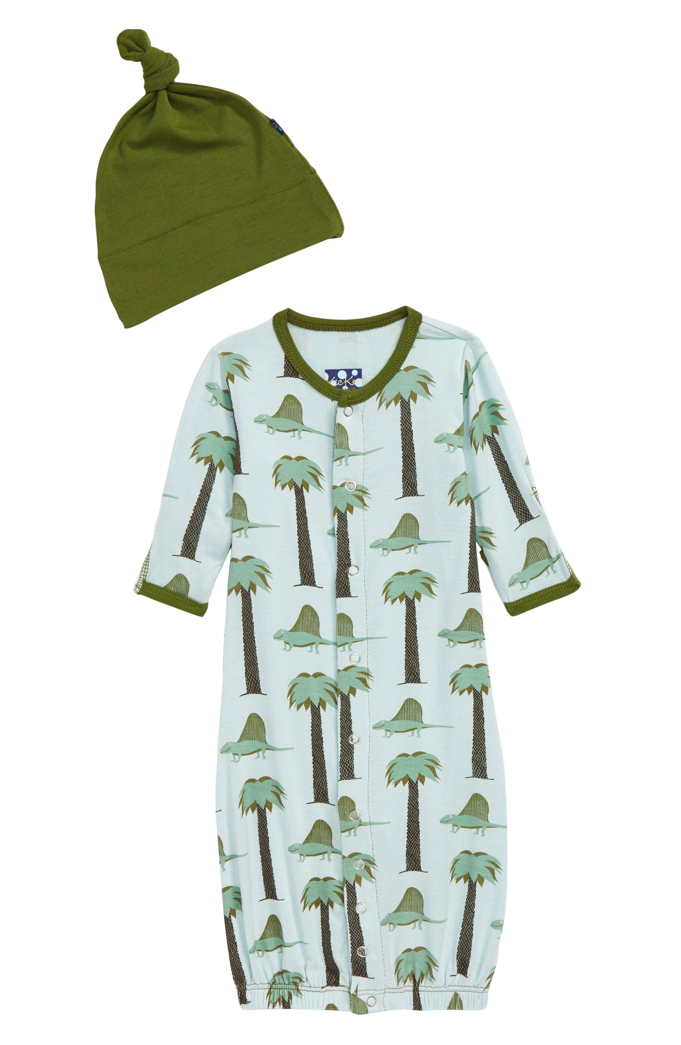 Infant Boys Kickee Pants Convertible Gown  Hat Set Size 36M  Blue