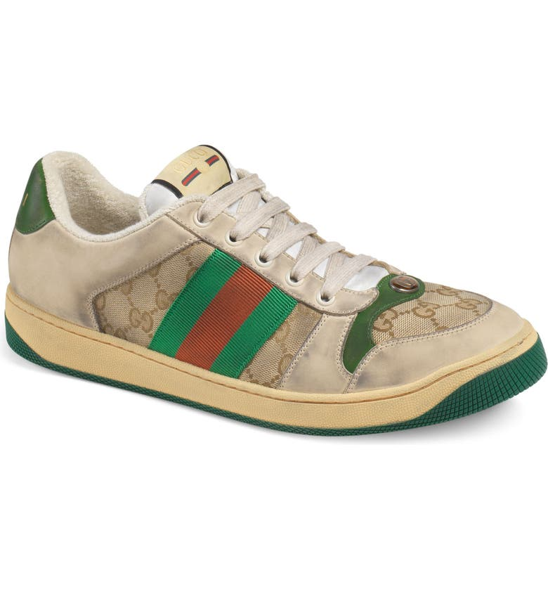 GUCCI Screener Sneaker, Main, color, BEIGE/ GREEN/ RED