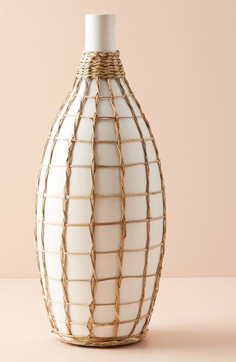 ANTHROPOLOGIE Wrapped Seagrass Vase, Main, color, 900