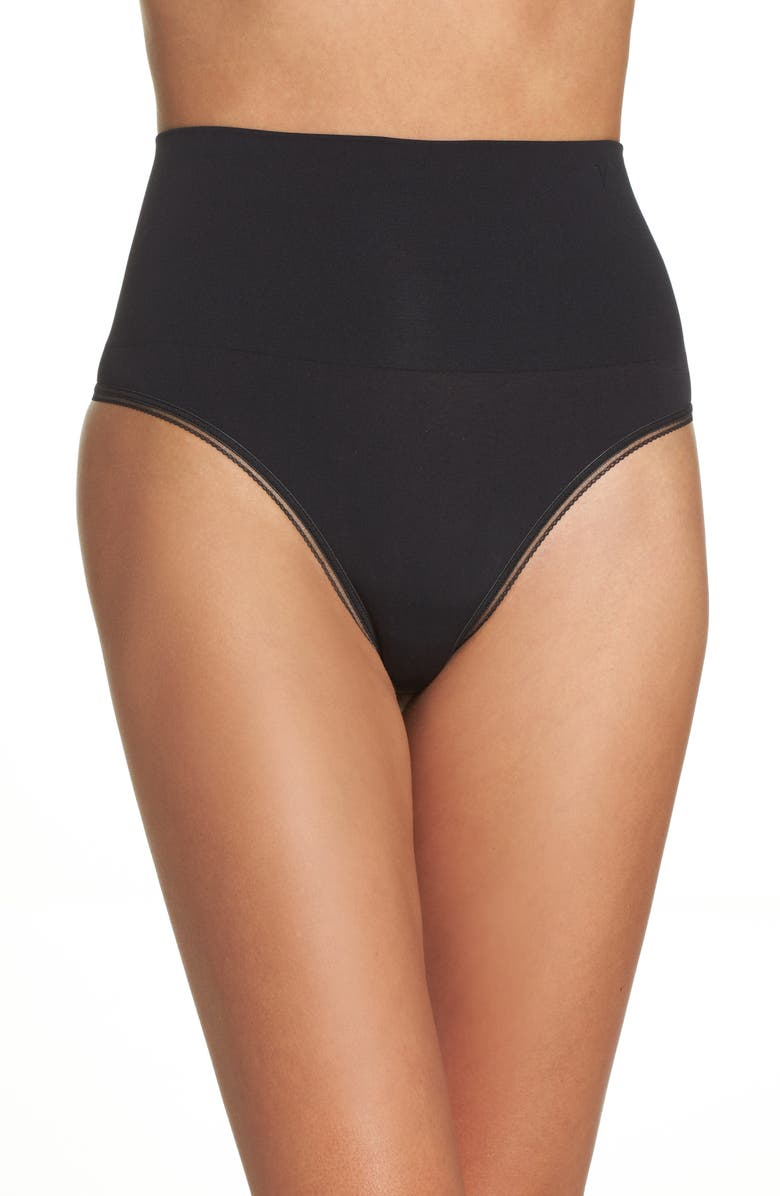YUMMIE Ultralight Seamless Shaping Thong, Main, color, BLACK