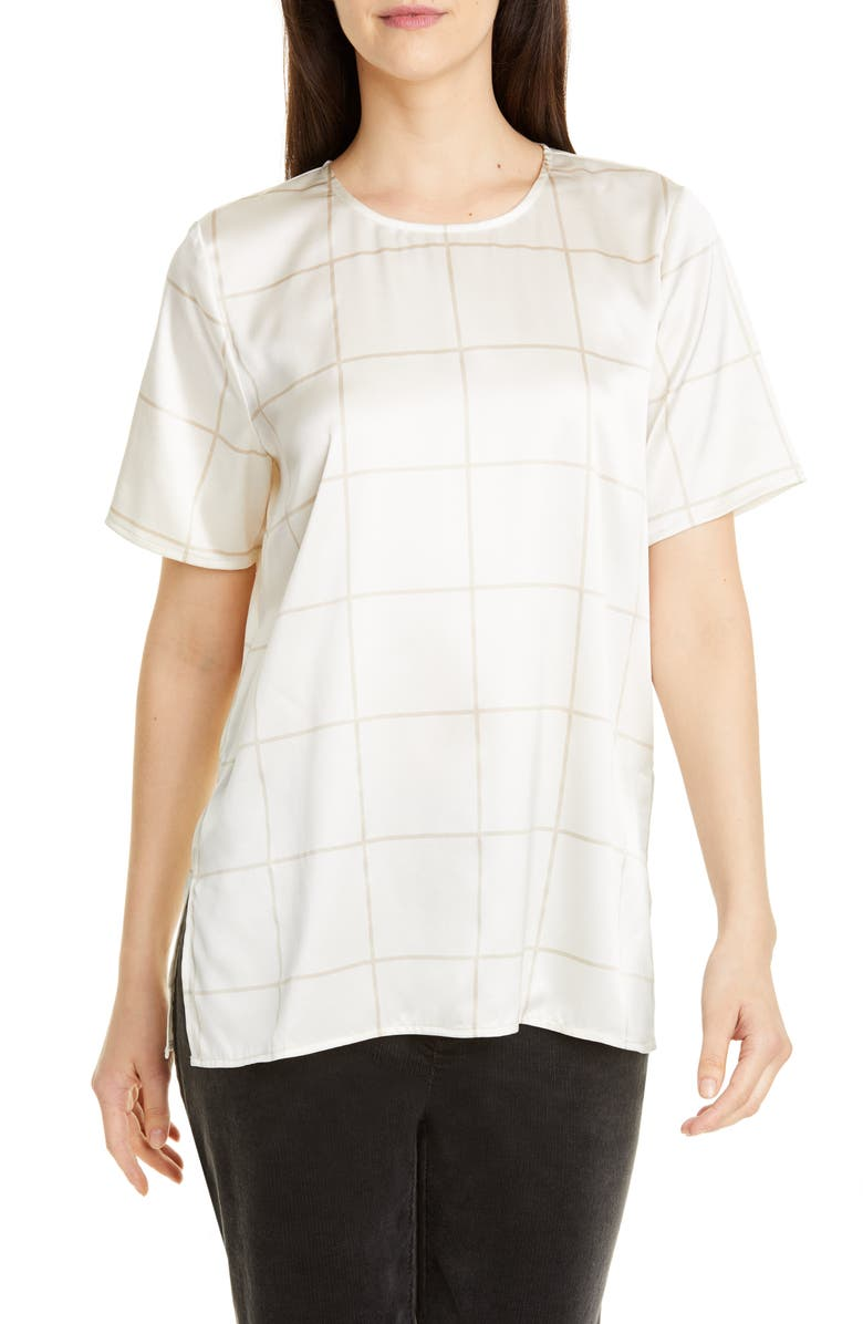 EILEEN FISHER Windowpane Check Stretch Silk Box Top, Main, color, 270