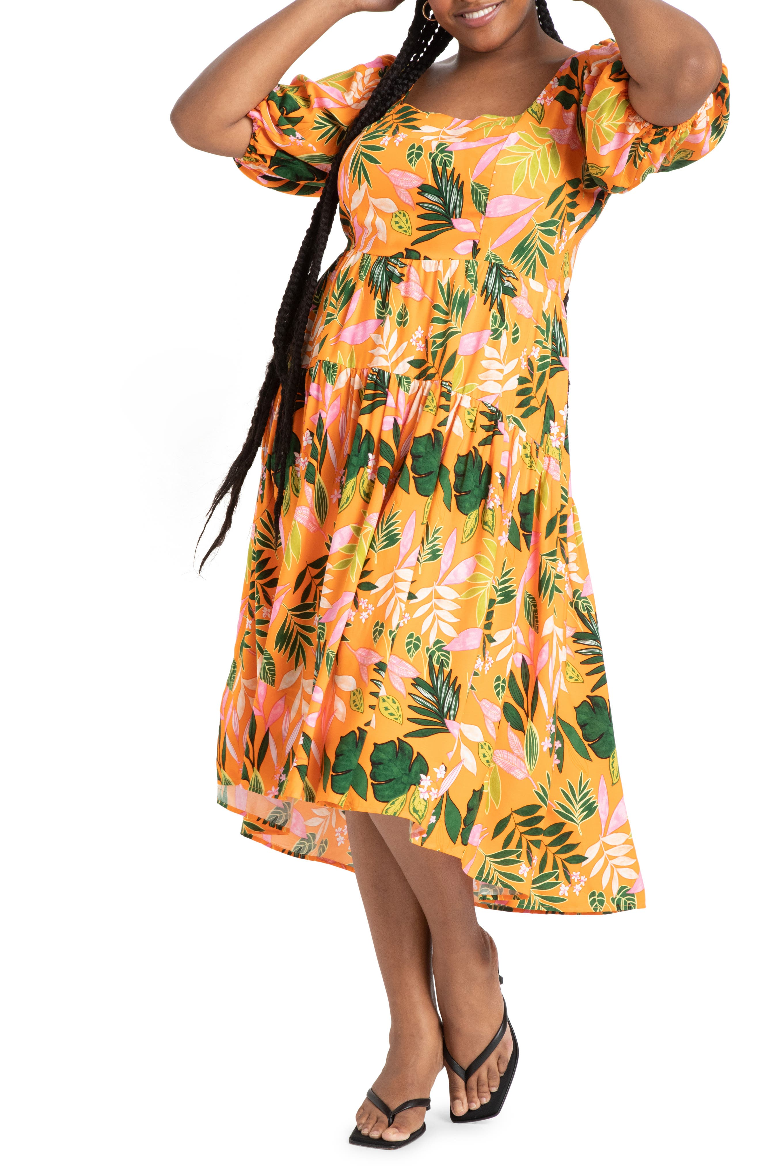 Floral Square Neck High/low Midi Dress