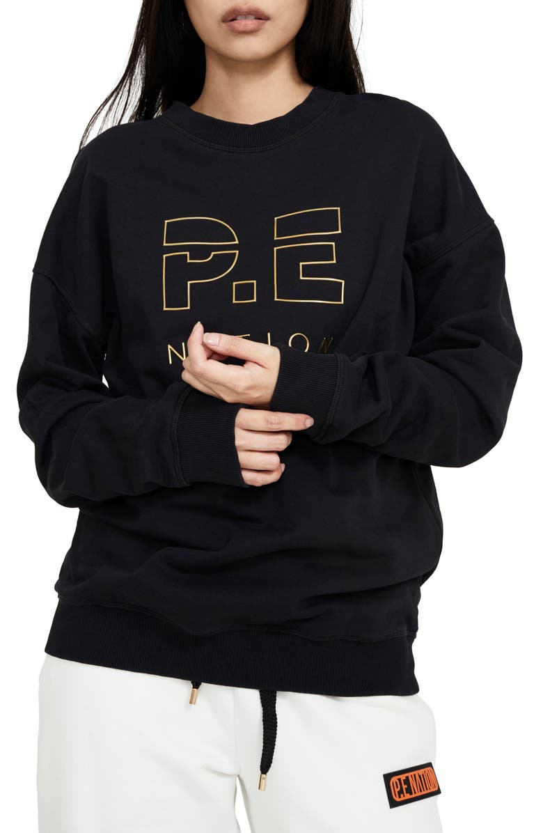 P.E NATION Heads Up Metallic Sweatshirt, Main, color, 001
