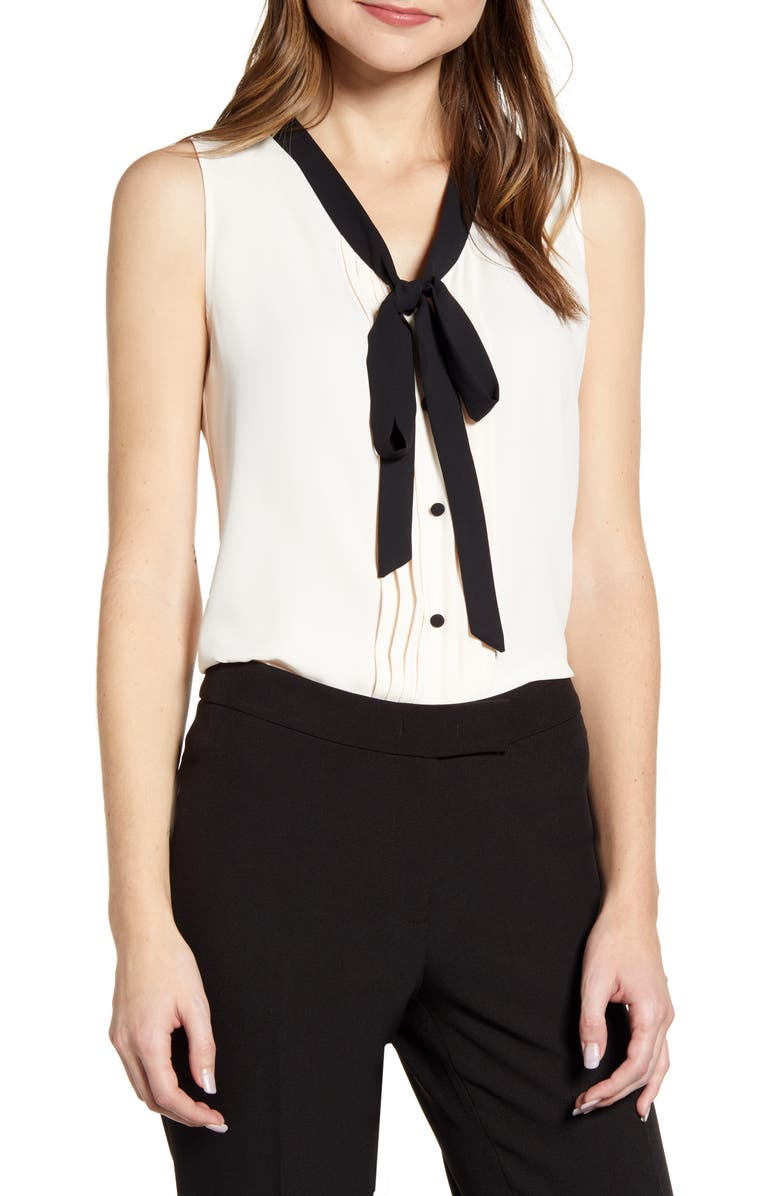 ANNE KLEIN Tie Neck Sleeveless Blouse, Main, color, ANNE WHITE