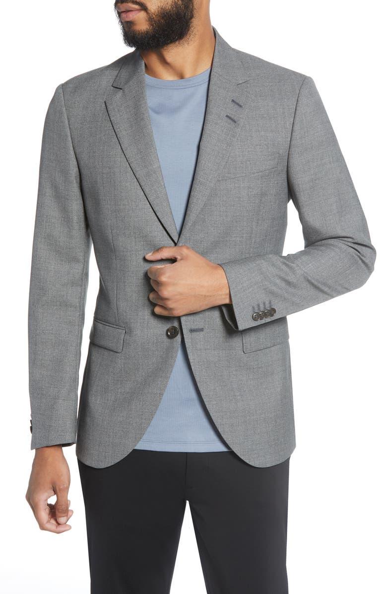 TIGER OF SWEDEN Jamonte Trim Fit Solid Wool Sport Coat, Main, color, MEDIUM GREY