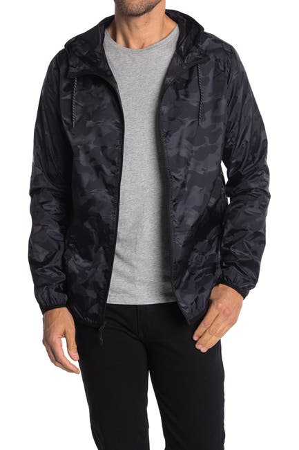 Image of Micros Camo Print Zip Front Hooded Jacket