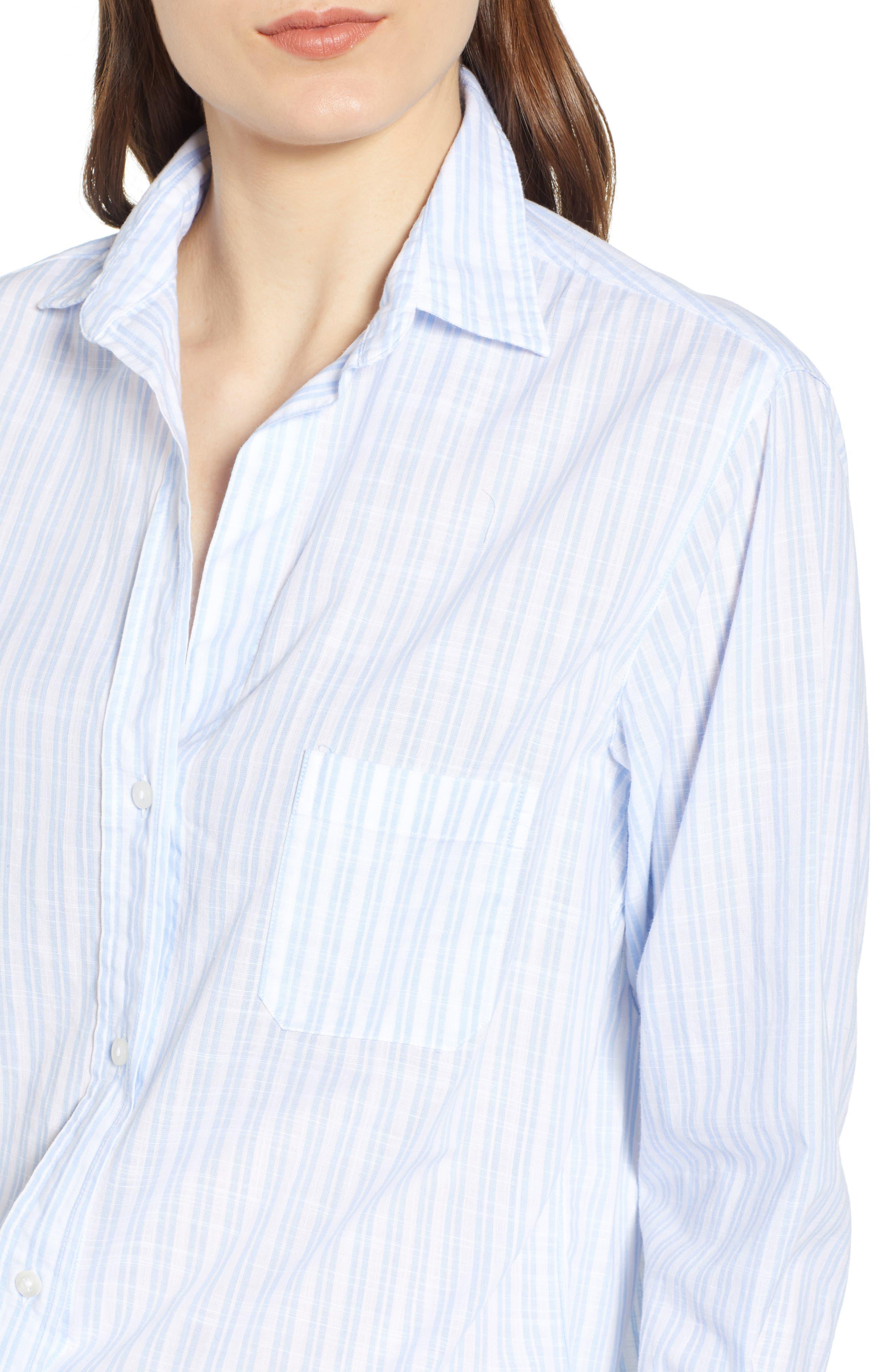 ,                             The Hero Washed Cotton Shirt,                             Alternate thumbnail 4, color,                             MARGARET BLUE STRIPE