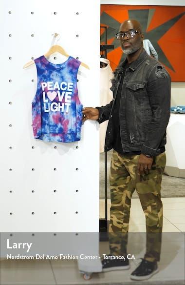 Peace Love Light Tie Dye Cotton Crop Tank Top, sales video thumbnail