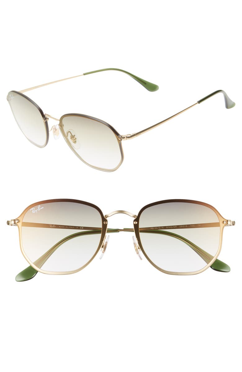 RAY-BAN 58mm Round Sunglasses, Main, color, GOLD/ TRANSPARENT GREEN