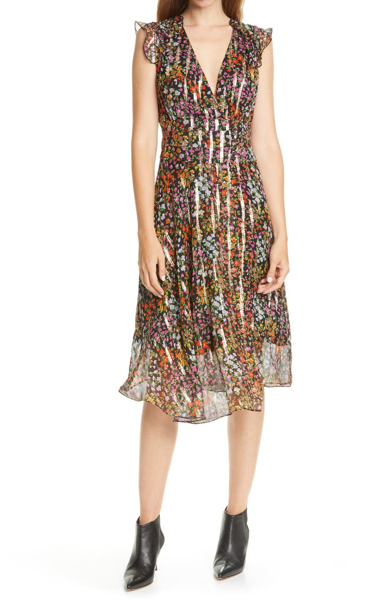 BA&SH Fenix Fil Coupé Floral Silk Midi Dress, Main, color, NOIR