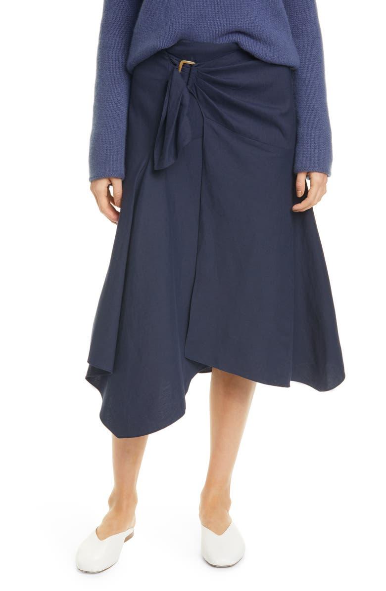 VINCE Linen Blend Skirt, Main, color, MARINE
