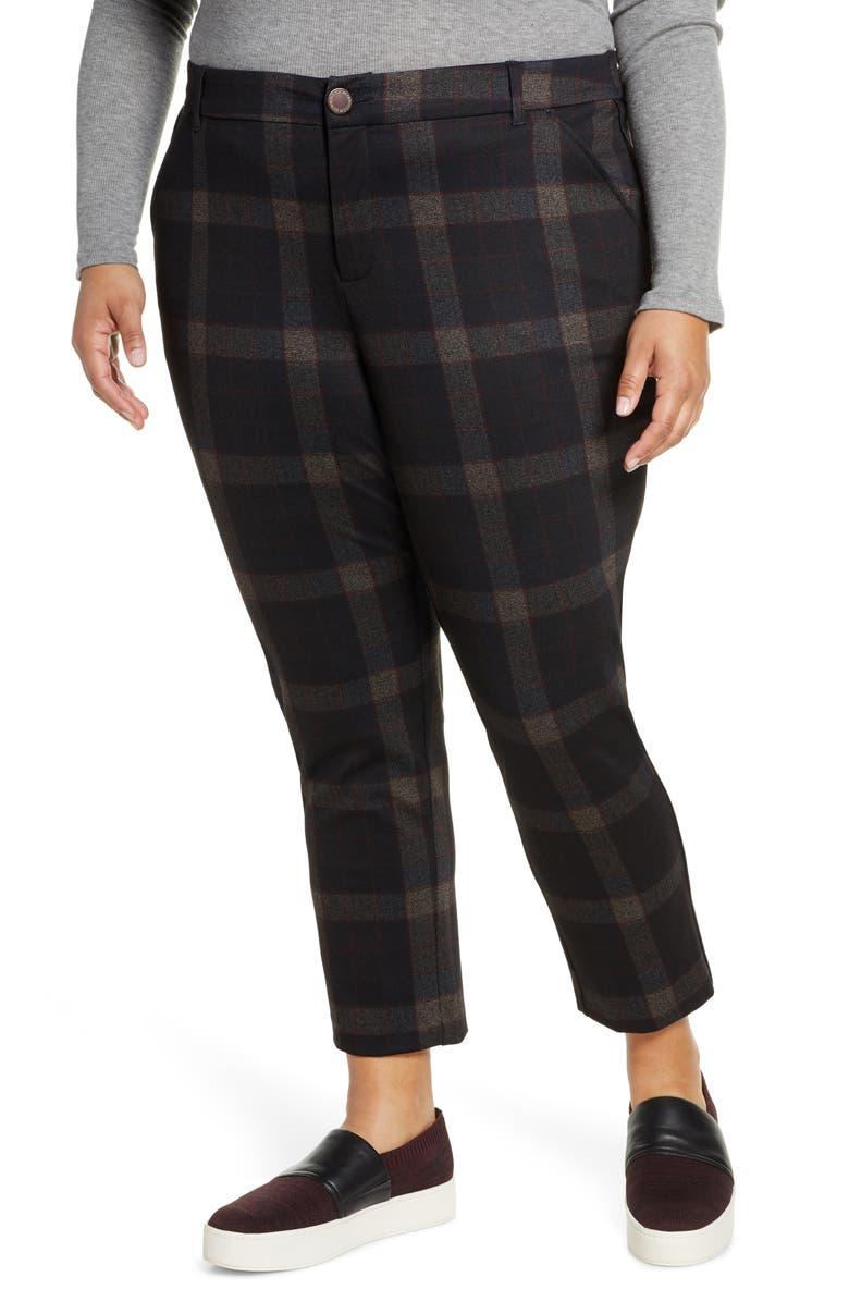 WIT & WISDOM Ab-solution Plaid High Waist Ankle Pants, Main, color, BLACK MULTI