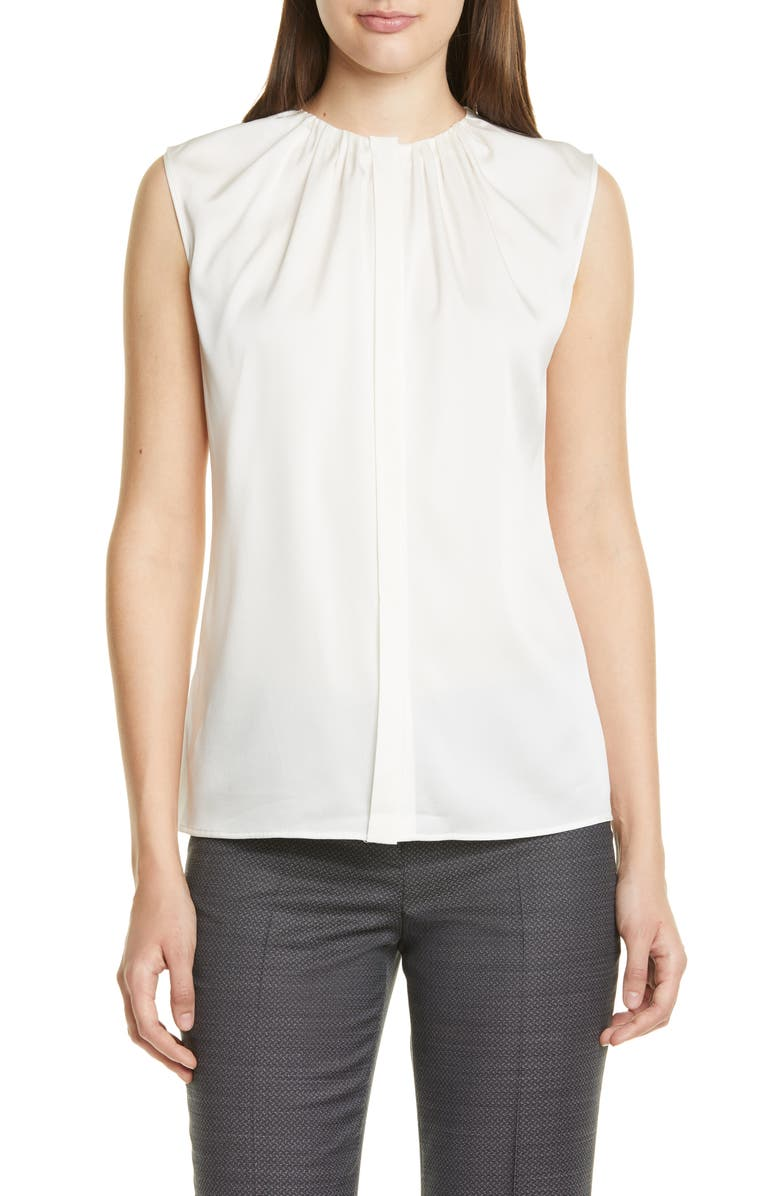 BOSS Binora Shirred Neck Sleeveless Stretch Silk Top, Main, color, VANILLA LIGHT