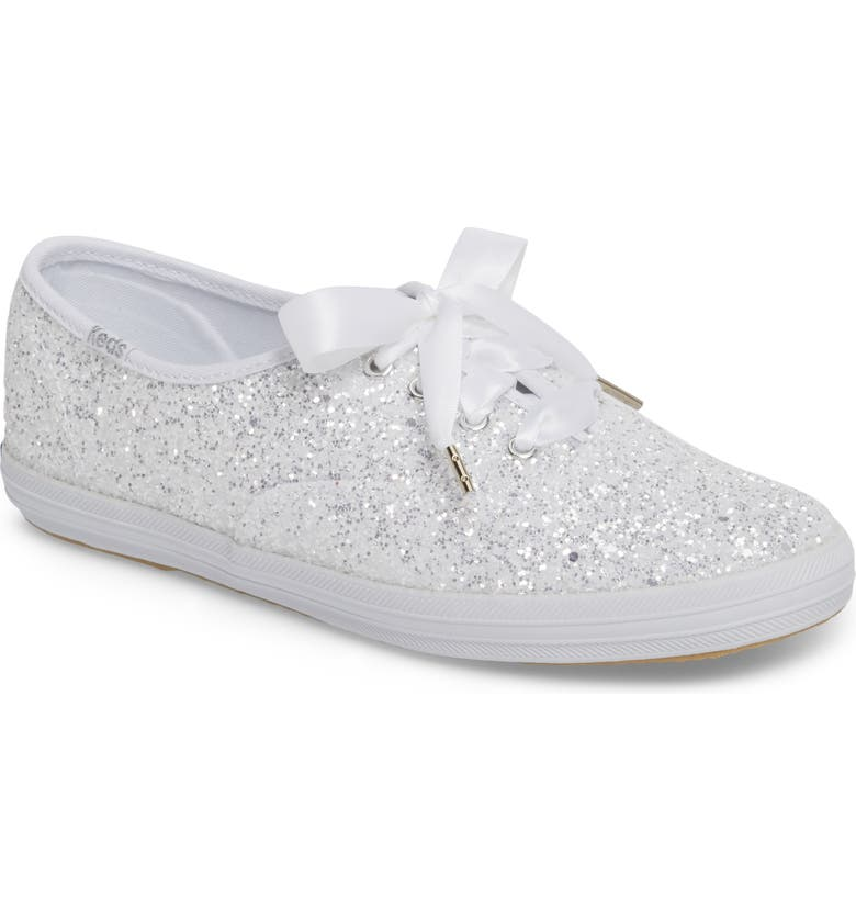 KEDS<SUP>®</SUP> FOR KATE SPADE NEW YORK glitter sneaker, Main, color, WHITE