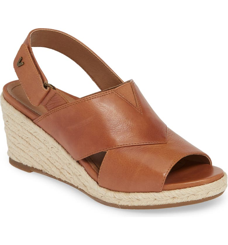 VIONIC Zamar Wedge Sandal, Main, color, TOFFEE LEATHER