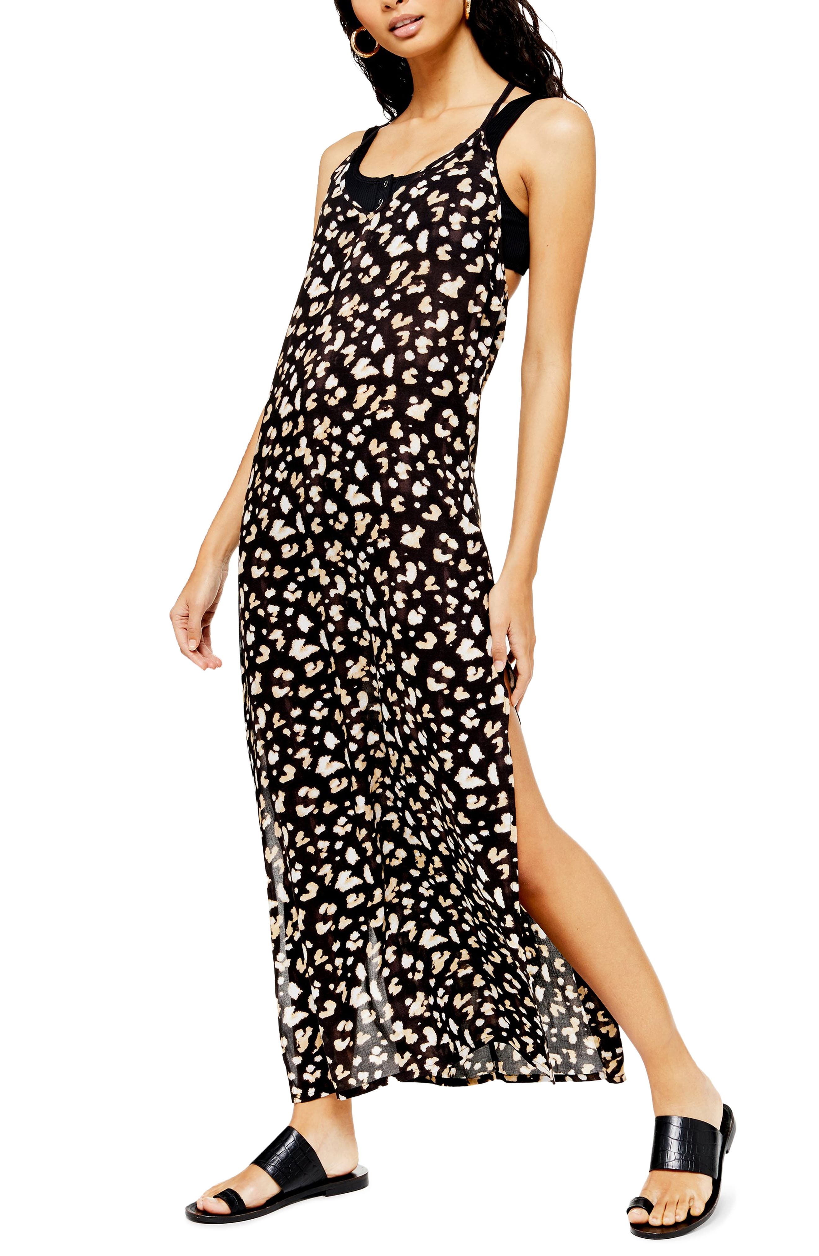 Topshop Printed Maxi Cover-Up Dress, White