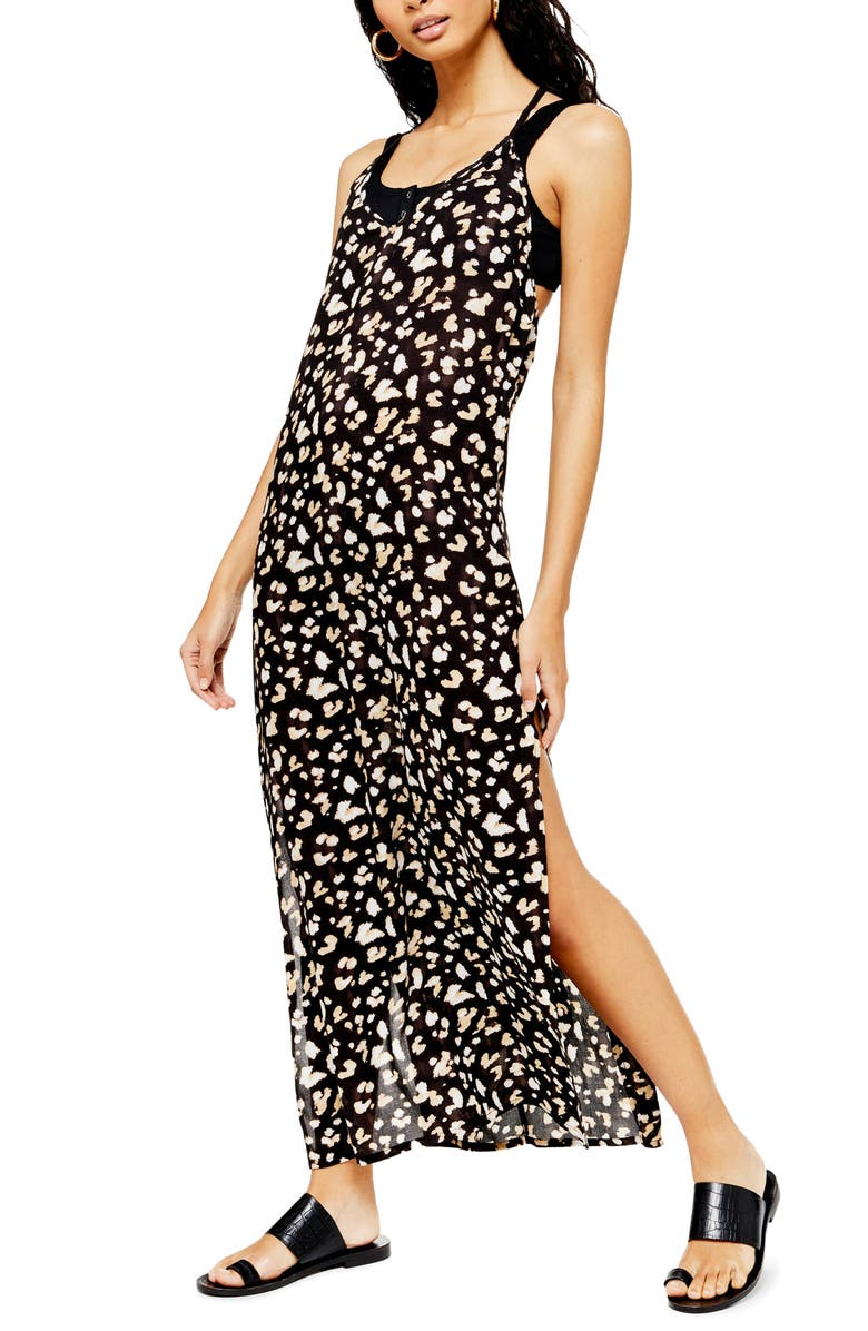 TOPSHOP Printed Maxi Cover-Up Dress, Main, color, WHITE MULTI