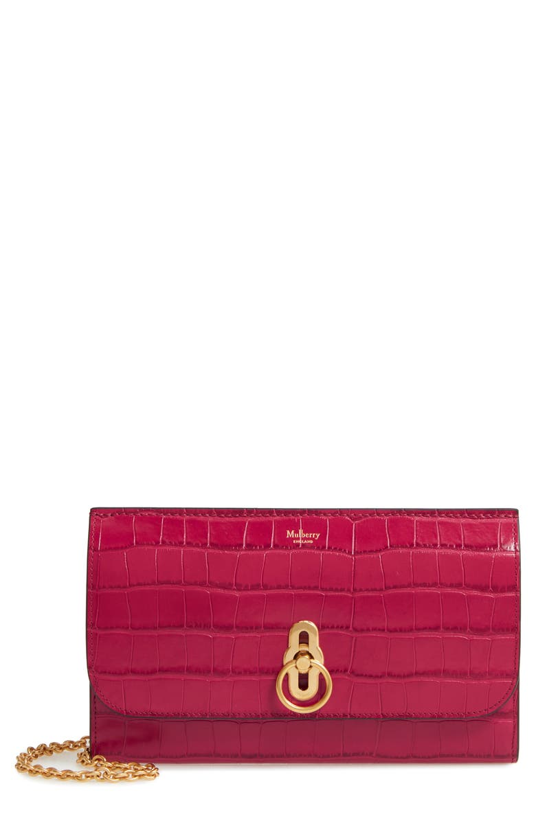 MULBERRY Amberley Croc Embossed Leather Clutch, Main, color, RED BERRY