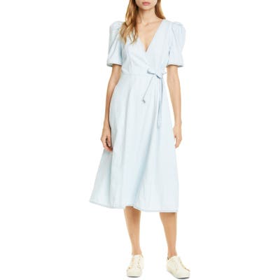 Kate Spade New York Denim Faux Wrap Dress, Grey