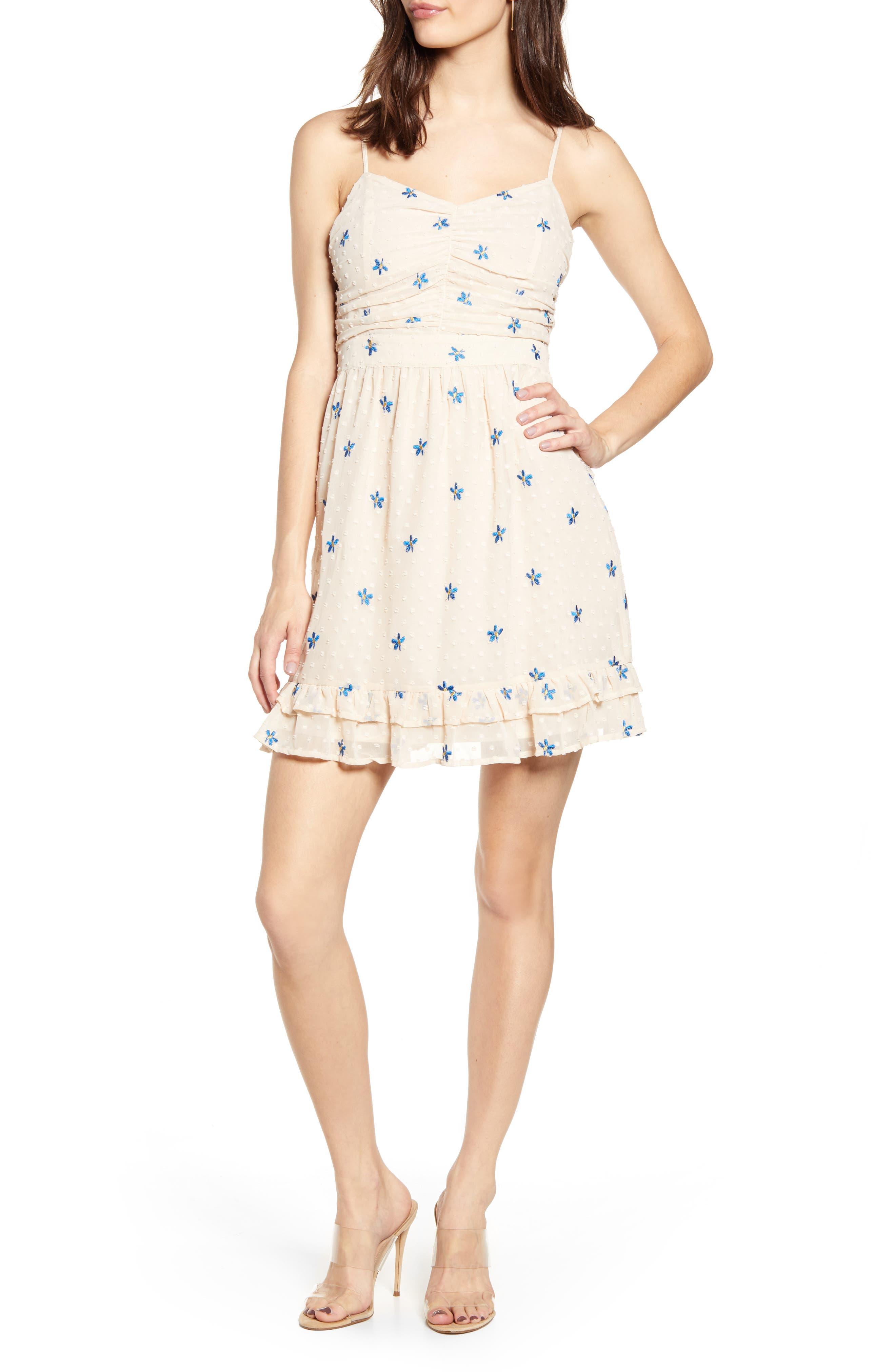 Endless Rose Embroidered Clip Dot Chiffon Minidress, Ivory