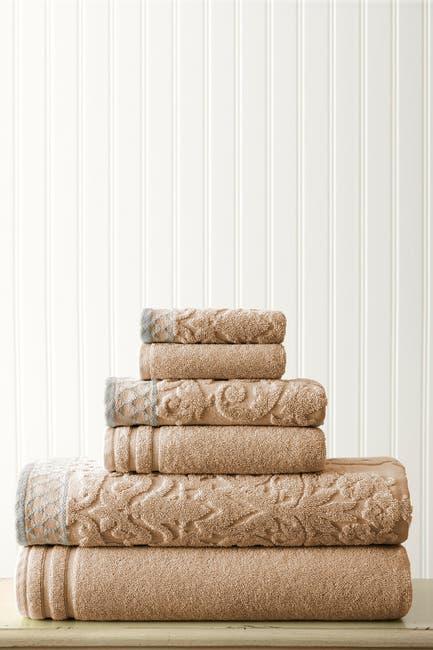 Image of Modern Threads Embellished Border Damask Jacquard Towel 6-Piece Set - Taupe