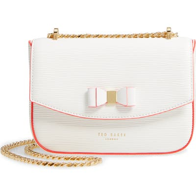 Ted Baker London Daissy Bow Mini Leather Crossbody Bag - Ivory