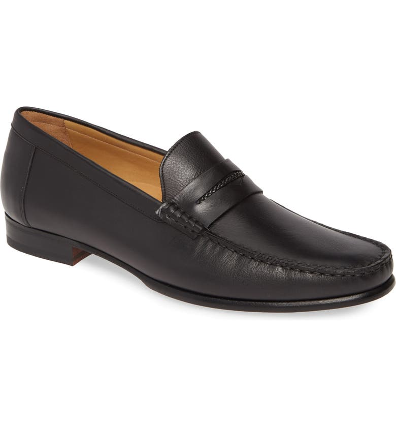 MEZLAN Malaga Penny Loafer, Main, color, BLACK LEATHER