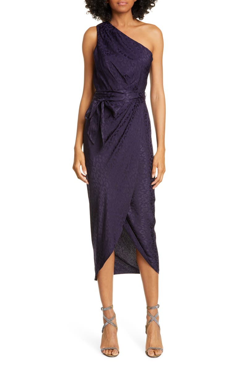 TED BAKER LONDON Zoeii One-Shoulder Faux Wrap Dress, Main, color, 410