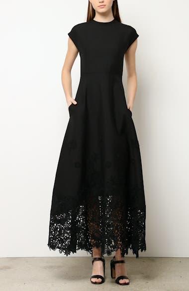 Laser Cut Hem Crepe Couture Dress, video thumbnail