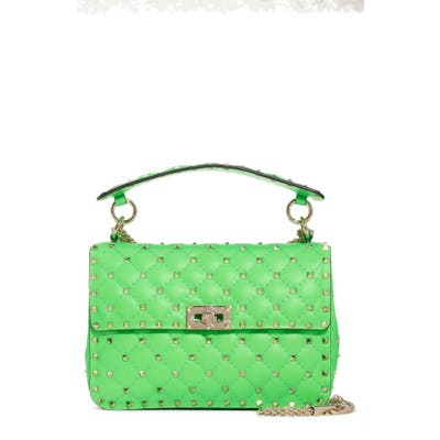Valentino Garavani Medium Rockstud Spike Leather Shoulder Bag - Green