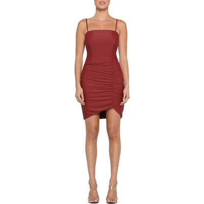 Tiger Mist Anika Ruched Side Strappy Minidress, Red