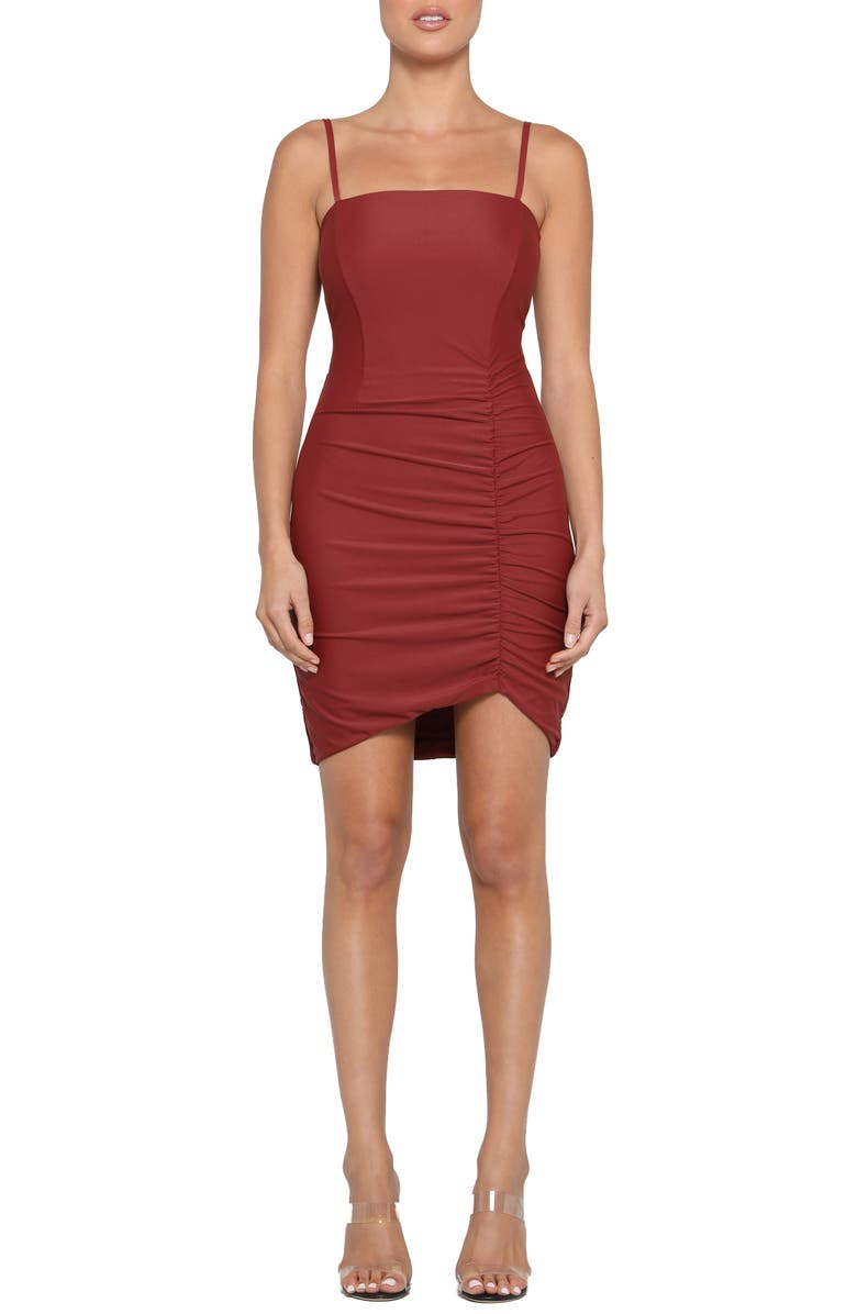 TIGER MIST Anika Ruched Side Strappy Minidress, Main, color, RUST