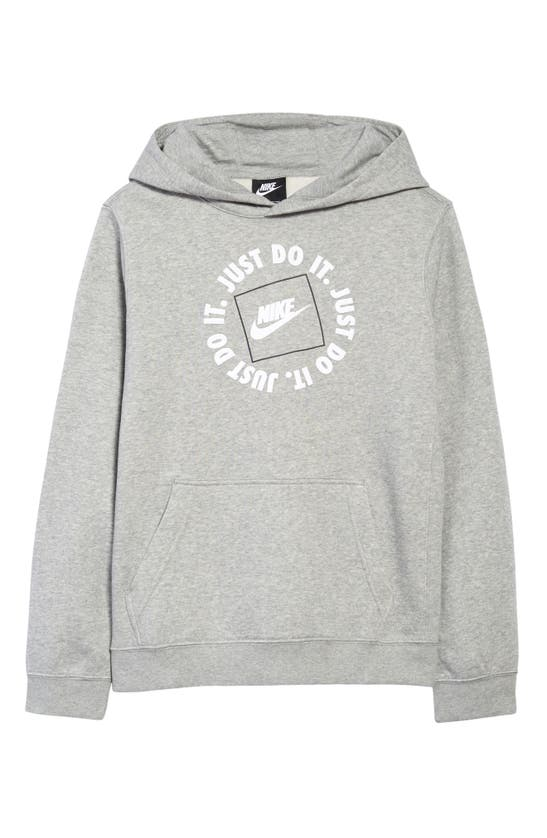 Nike Sportswear Kids' Jdi Logo Graphic Hoodie (big Boy) In Dk Grey Heather