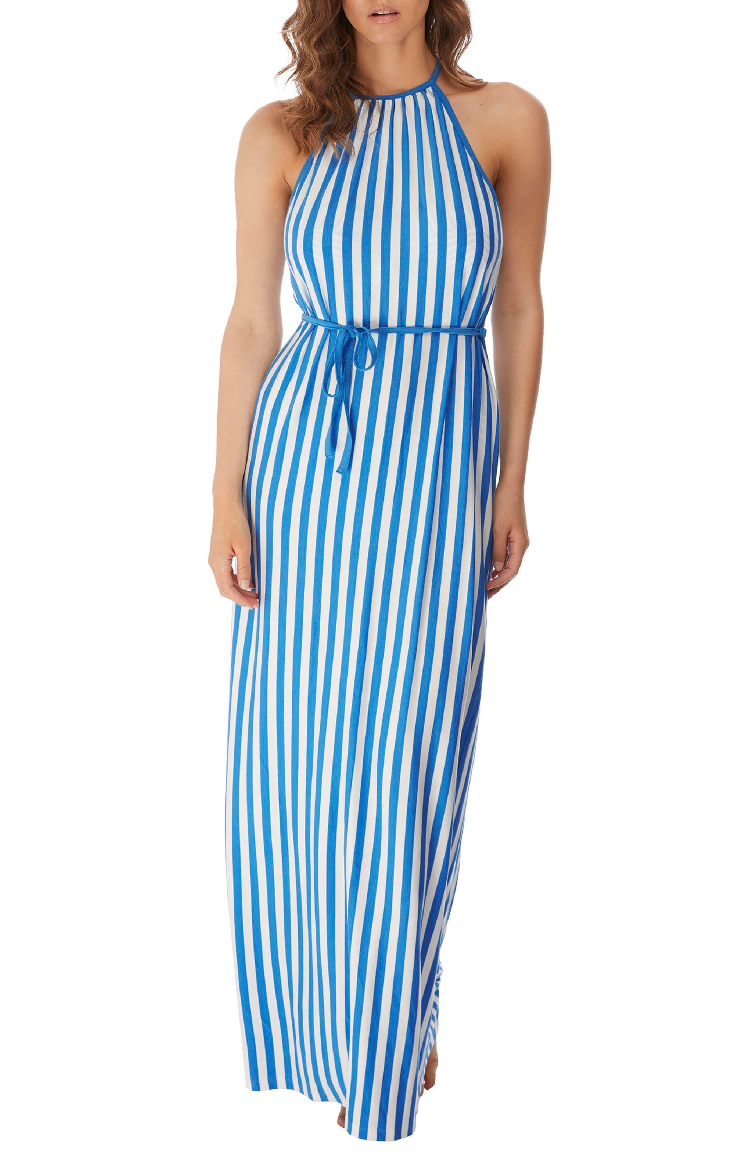 Beach Hut Sleeveless Tie Waist Maxi Dress