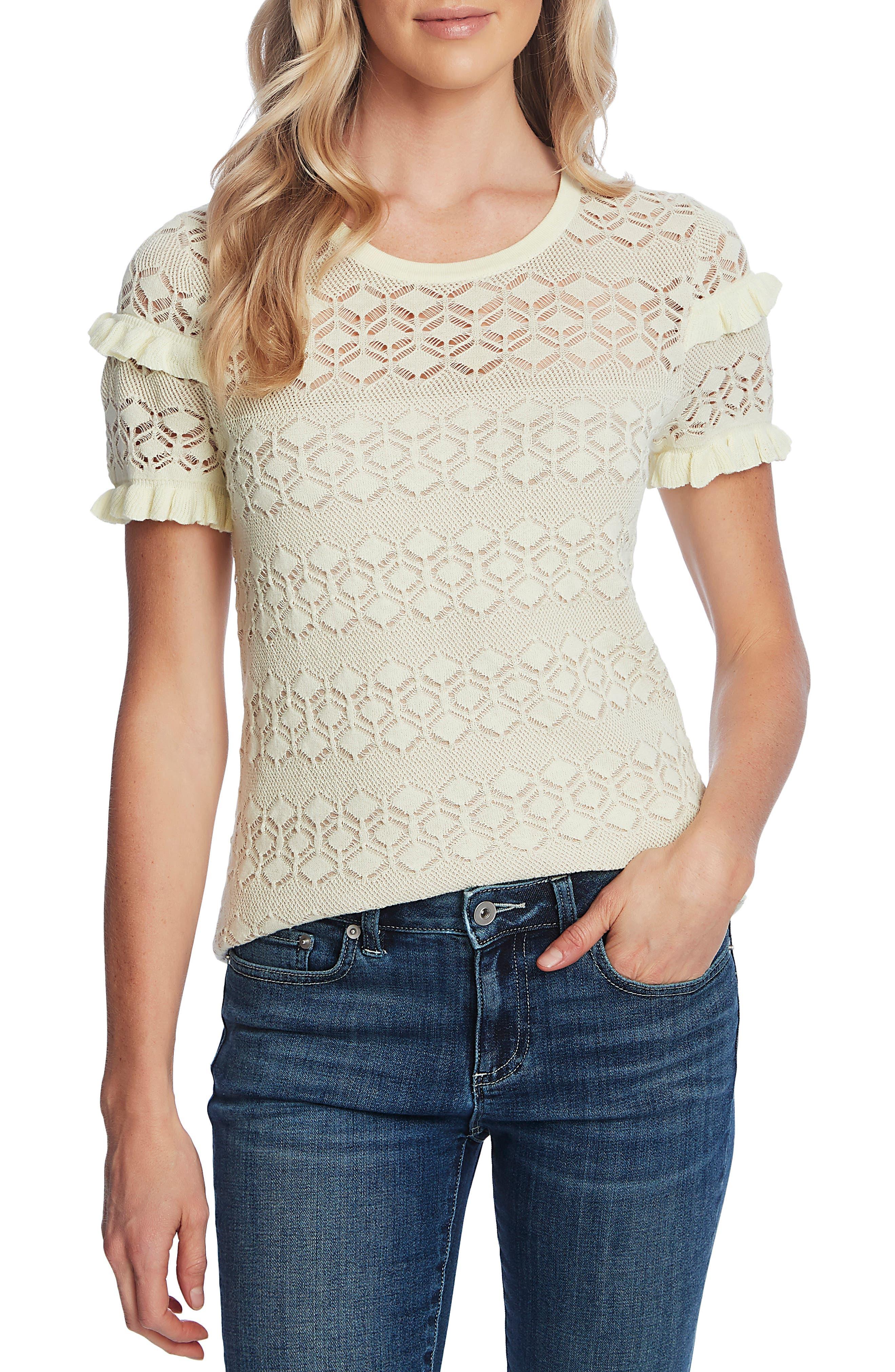 Vintage Tops & Retro Shirts, Halter Tops, Blouses Womens Cece Ruffle Detail Pointelle Short Sleeve Sweater $79.00 AT vintagedancer.com