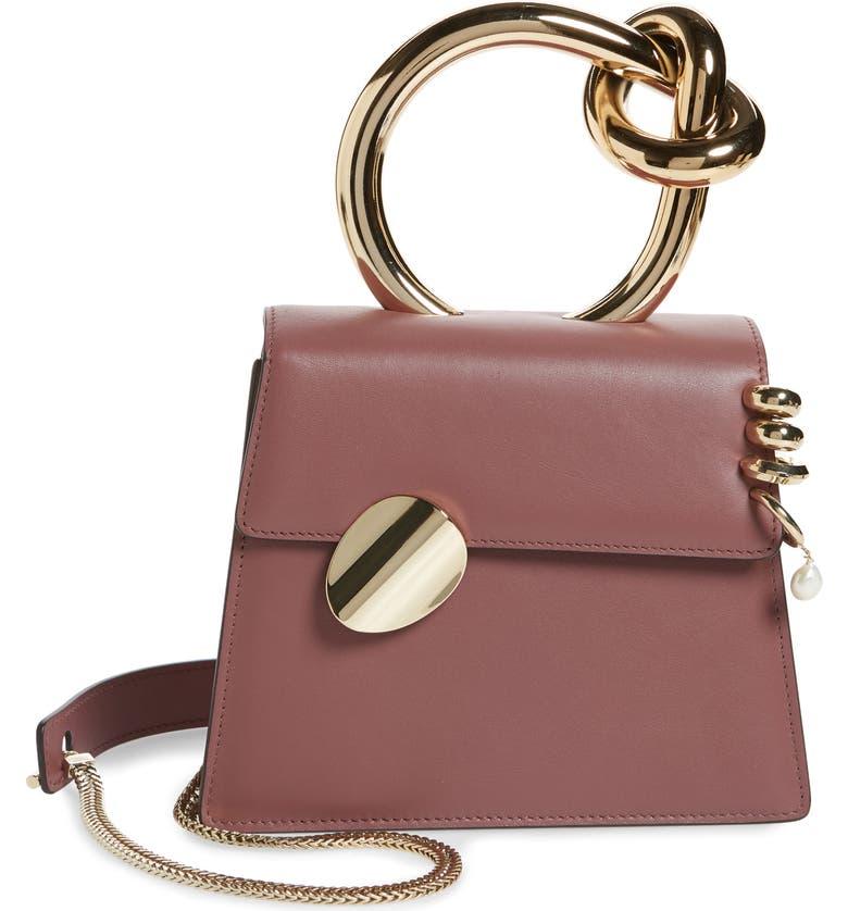 BENEDETTA BRUZZICHES Small Brigitta Pierced Calfskin Leather Top Handle Satchel, Main, color, BROWN ROSE