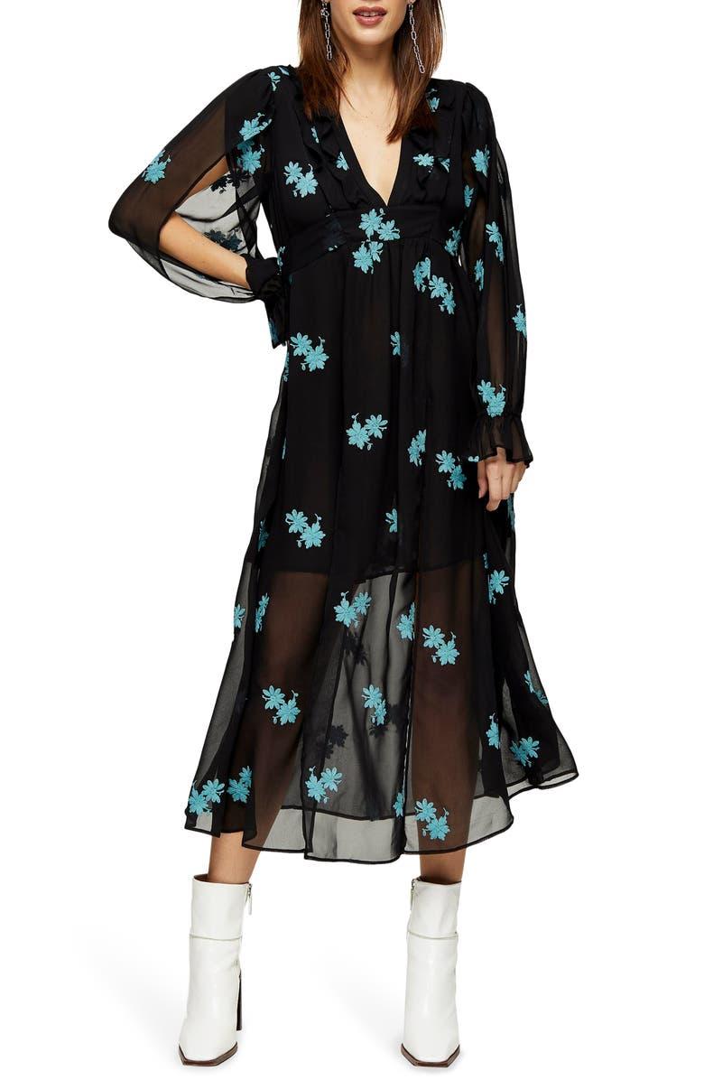 TOPSHOP IDOL Embellished Floral Long Sleeve Midi Dress, Main, color, BLACK MULTI
