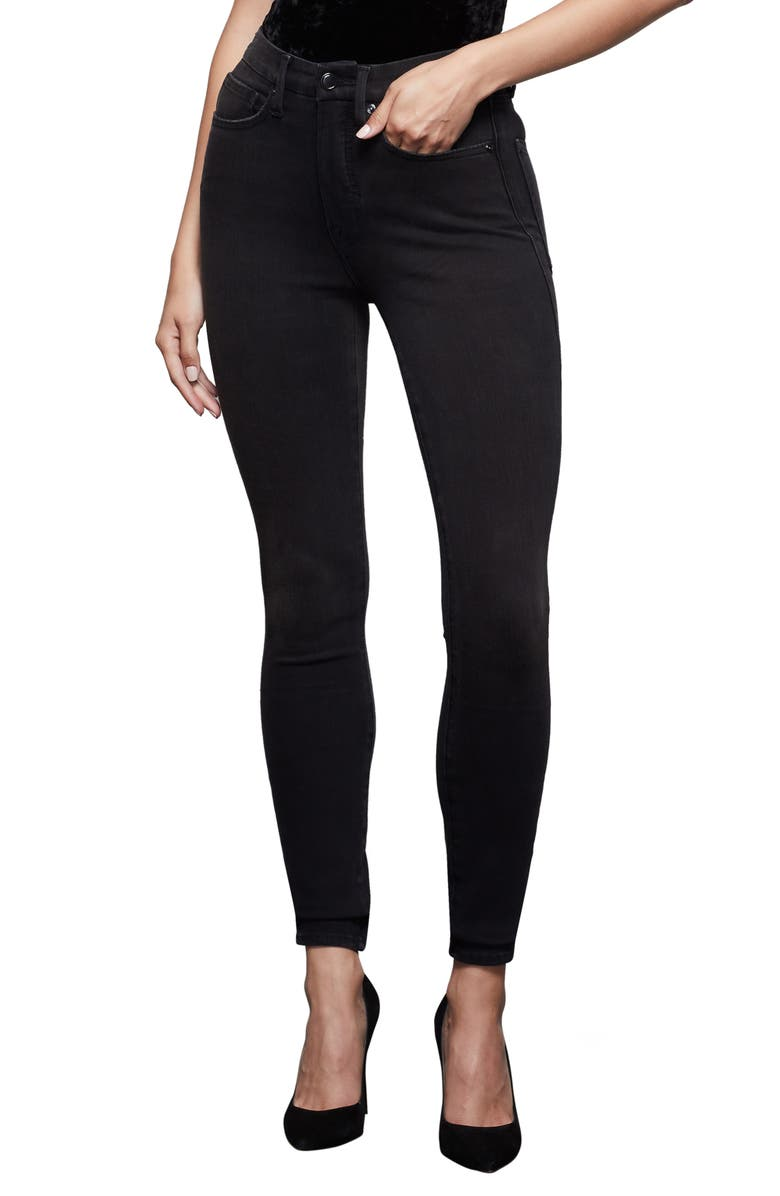 GOOD AMERICAN Good Waist High Waist Extreme V Skinny Jeans, Main, color, BLACK