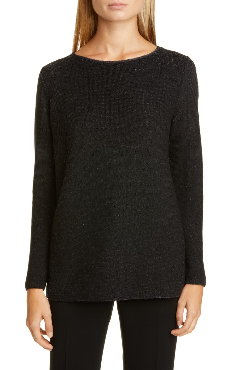 LAFAYETTE 148 NEW YORK Metallic Cashmere Blend Sweater, Main, color, BLACK METALLIC