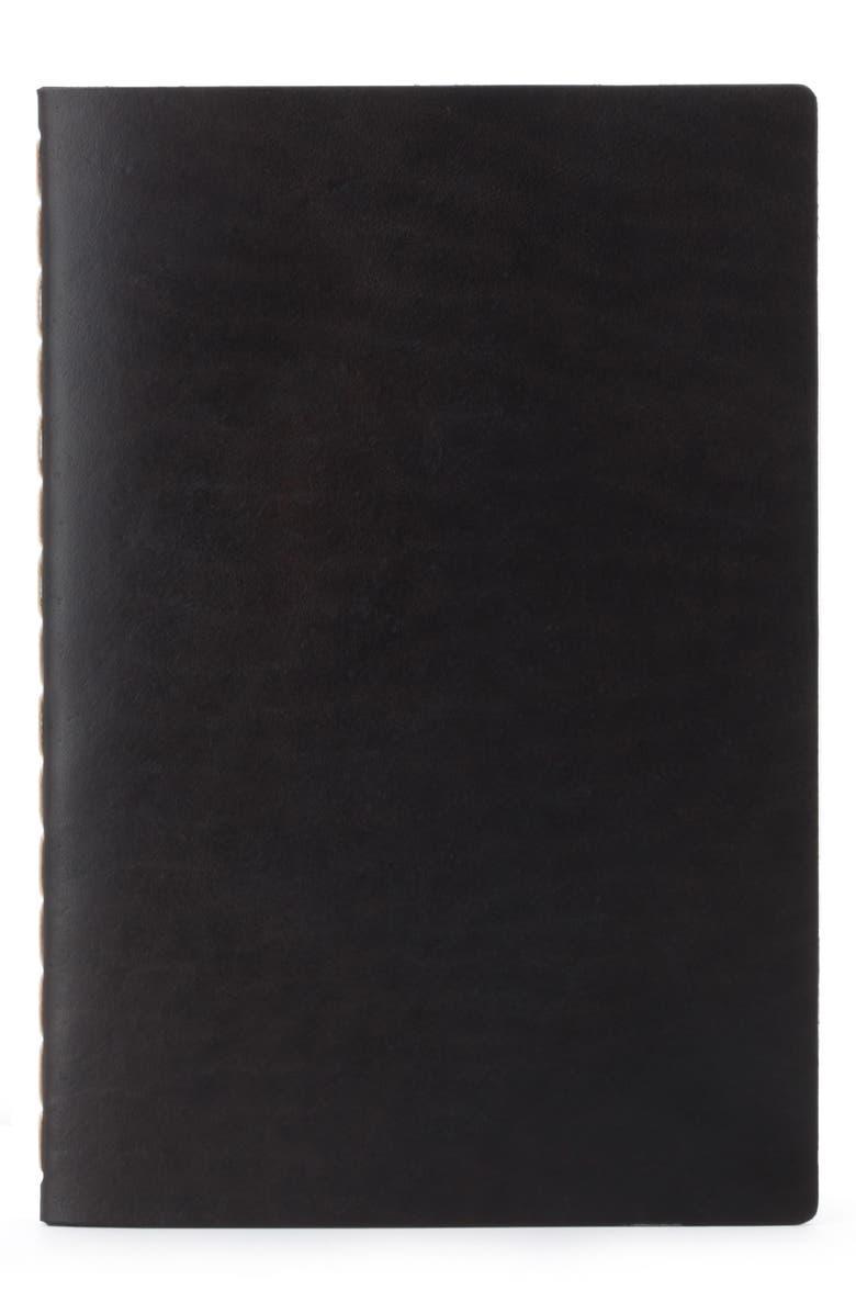 EZRA ARTHUR Medium Leather Notebook, Main, color, JET TOP STITCH