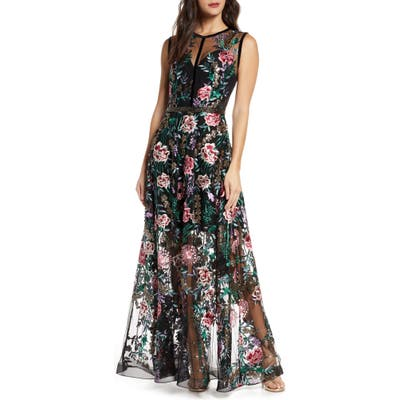 Bronx And Banco Melia Floral Beaded & Embroidered Gown, Black
