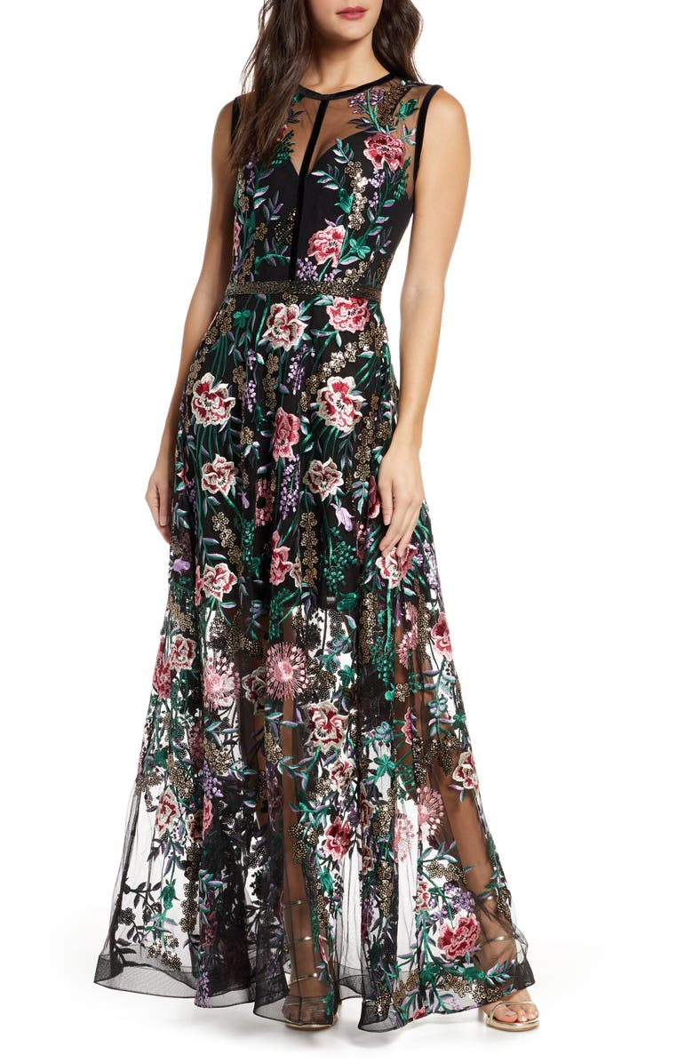 BRONX AND BANCO Melia Floral Beaded & Embroidered Gown, Main, color, MULTICOLOR